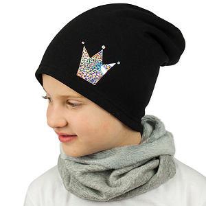 Zimní čepice černá s korunkou