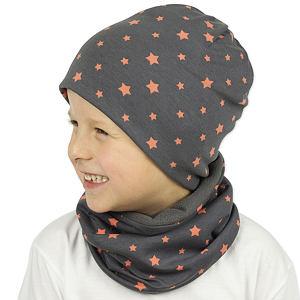 Zimní čepice oranžové hvězdy na šedé