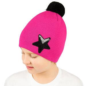 Zimní čepice pletená růžová hvězda