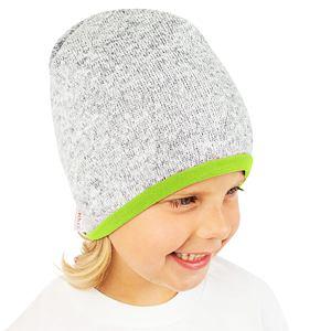 Zimní čepice svetrovina s limet podšívkou