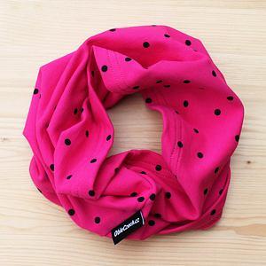 Nákrčník růžový s černými puntíky
