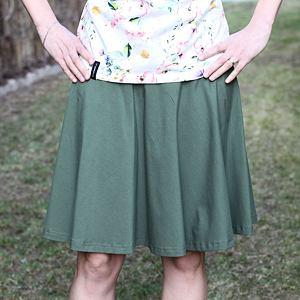Kolová sukně olivová