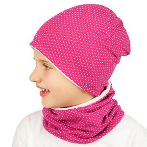 Zimní čepice drobné puntíčky na růžové
