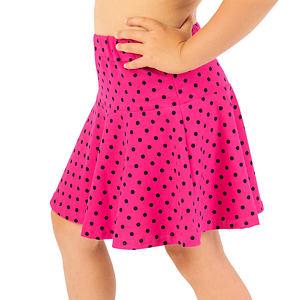Kolová sukýnka puntíky na růžové