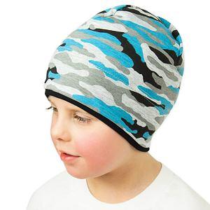 Zimní čepice maskáč tyrkysová