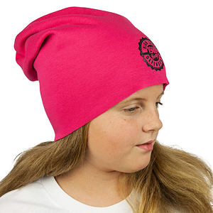 Zimní čepice tmavě růžová razítko spadená