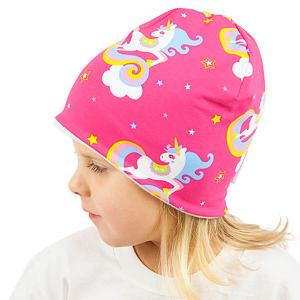 Zimní čepice jednorozči na růžové