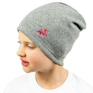Zimní čepice šedá s hvězdičkou