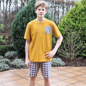 Pánské pyžamo krátké/dlouhé hořčicové