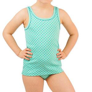 Dívčí košilka tyrkys s puntíky