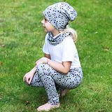 Dívčí legíny z teplákoviny bavlněné šedé s pandou ObleCzech