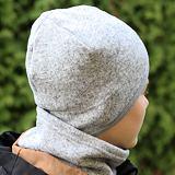 Zimní čepice svetrovina s šedou podšívkou