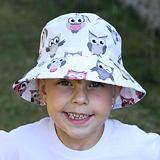 Letní bavlněný klobouček sovičky. Dívčí bavlněný klobouček.