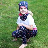 Dívčí legíny třpytivé puntíky na tmavě modré ObleCzech