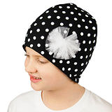 Zimní čepice bílé puntíky na černé