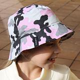 Dětský dívčí bavlněný klobouček maskáč pudrový ObleCzech