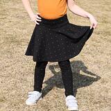 Legíny se sukní skořicové puntíky na černé